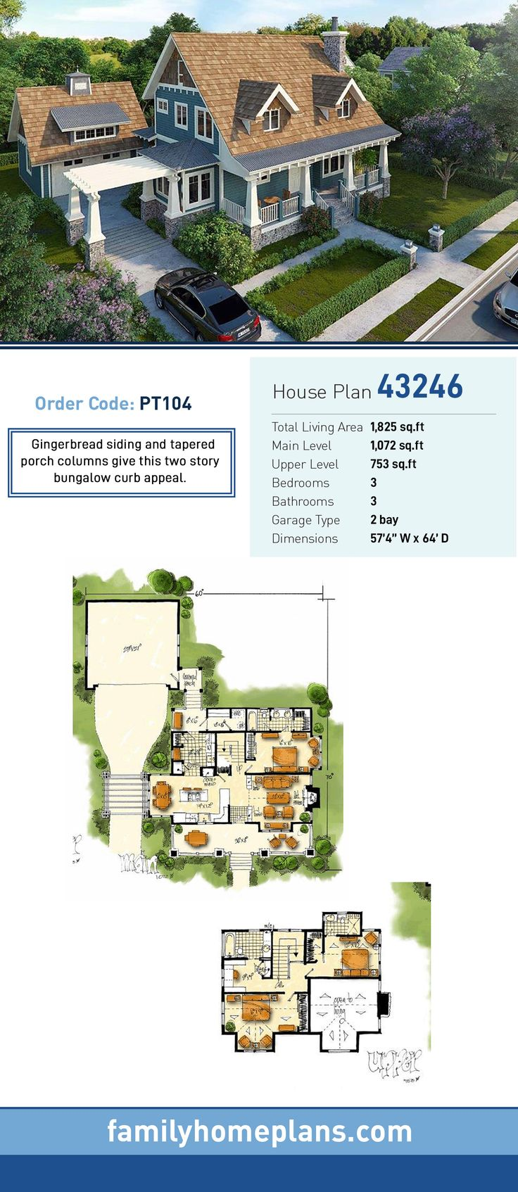 Craftsman Style House Plan Number 43246 with 3 Bed, 3 Bath, 2 Car Garage