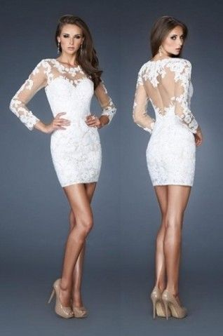 Short White Lace Long Sleeve Cocktail Party Dresses Formal Evening Prom Dress
