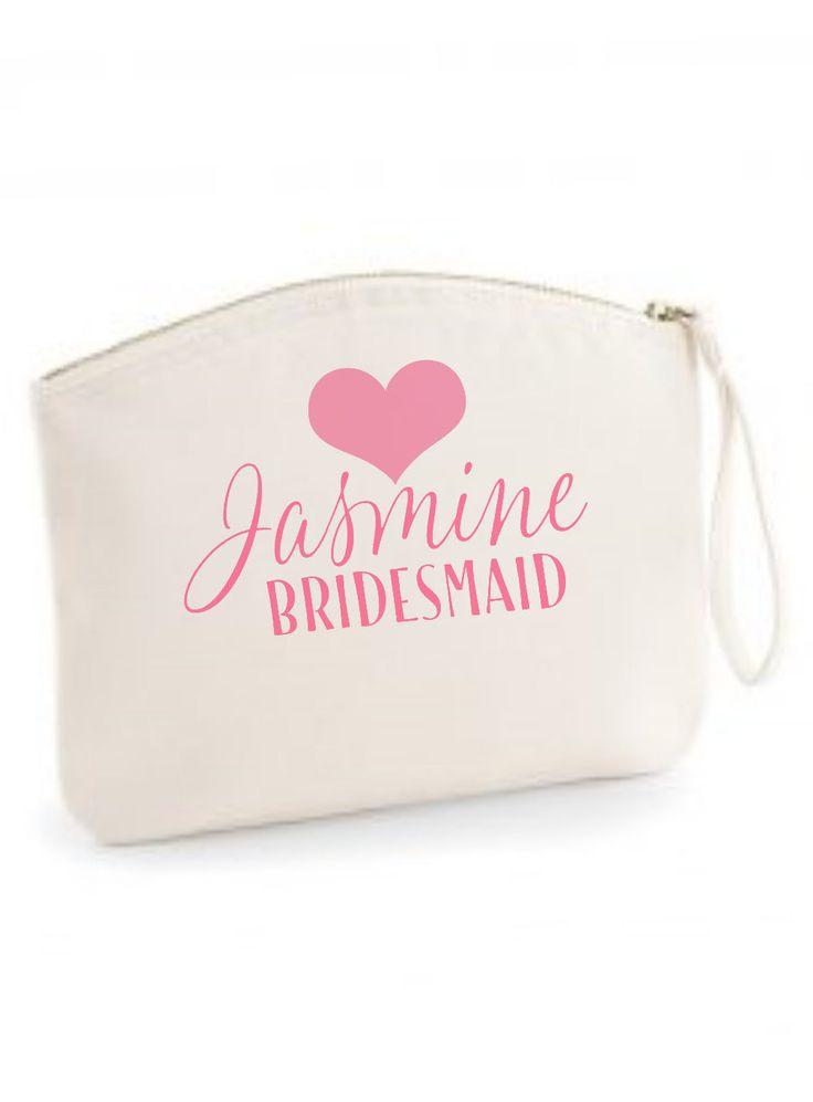 Personalised Bridesmaid gift makeup bag cosmetics bag by ZoeEdenWeddings on Etsy