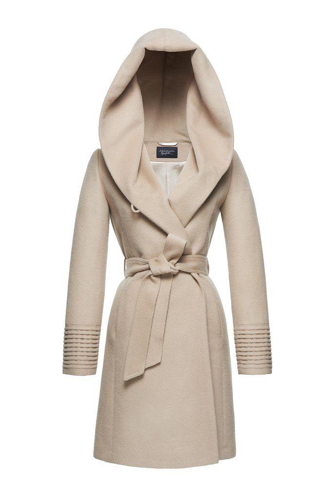 SENTALER Luxury Outerwear: Mid Length Hooded Wrap Coat - Camel