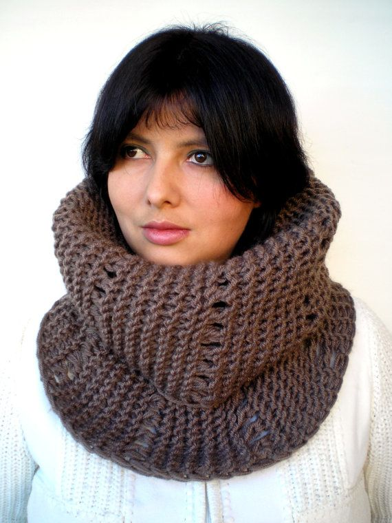 Brown Lace  Cowl Super Soft mixed Wool Neckwarmer  by GiuliaKnit, $49.00