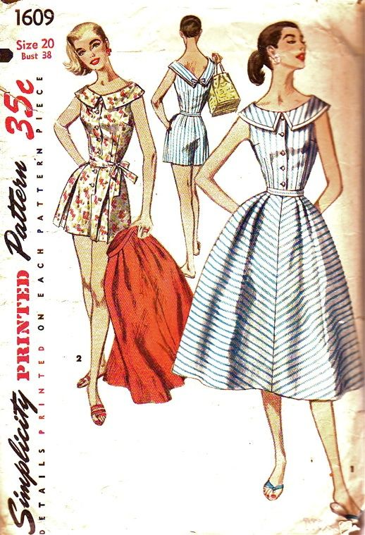 Simplicity Pattern 1609 Vintage Plus Size Perky Playsuit and Skirt, dated 1956. This includes; Women's One-Piece Playsuit and Skirt: The perky, sleeveless playsuit is styled with a round neckline in front that dips to a V in back. Shorts feature an inverted pleat on either side of front and have pockets in the side seams. The skirt has soft pleats in front and is gracefully flared.