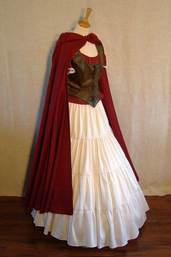 hooded cape wool / hooded cloak  woolen / by BrunhildeFantasy