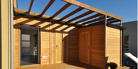 Extension bois garage sas d'entrée bureau de jardin bardage en mélèze