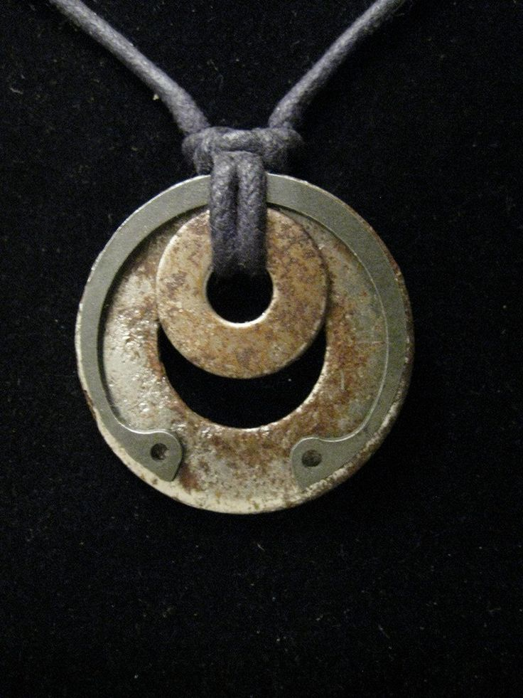 urban artifact necklace with matched rusty washers, retaining ring