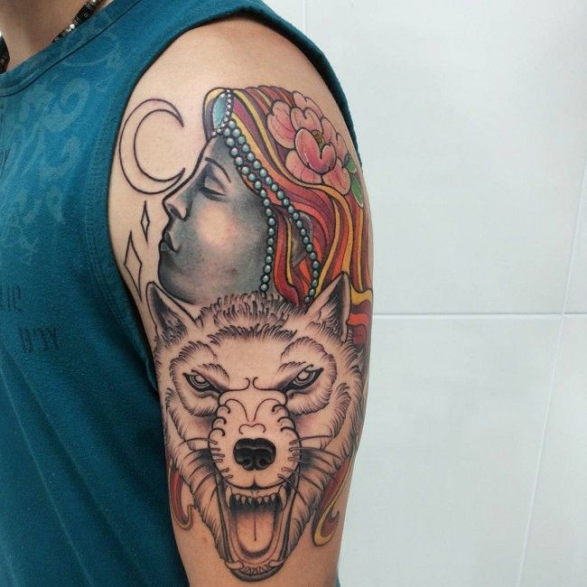 150+ Most Powerful Wolf Tattoos And Their Meanings nice  Check more at https://tattoorevolution.com/wolf-tattoos-meanings/