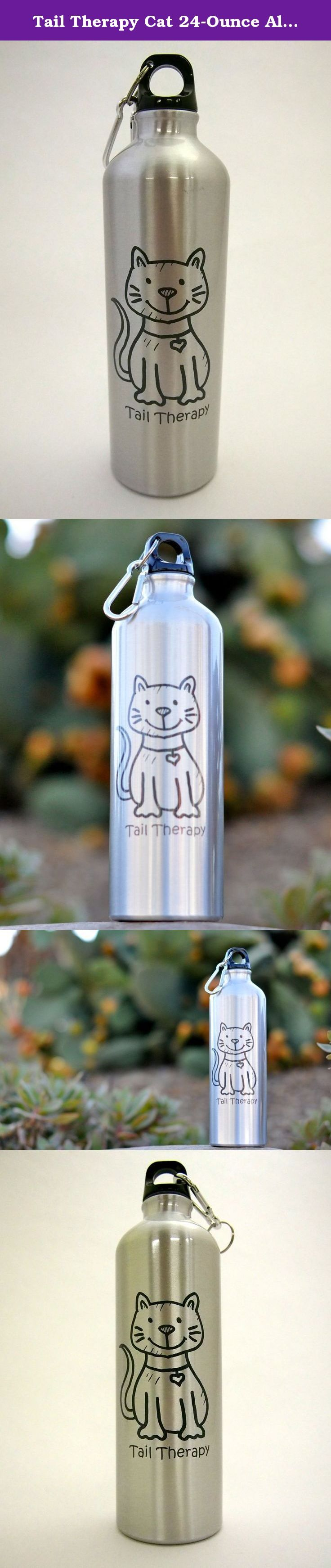 Tail Therapy Cat 24-Ounce Aluminum Water Bottle -- Carabiner Clip included, screw top, great for hiking, camping, on the go, anywhere. Take your smile to go with our TailTherapyTM sturdy and lightweight 24-ounce aluminum bike bottle. The screw-on, spill resistant lid and handy carabiner clip keeps your drink right where you want it. Each bottle features a bright stainless finish paired with our iconic TailTherapyTM mascot Bailey in a deep charcoal gray for a cool tone-on-tone effect…