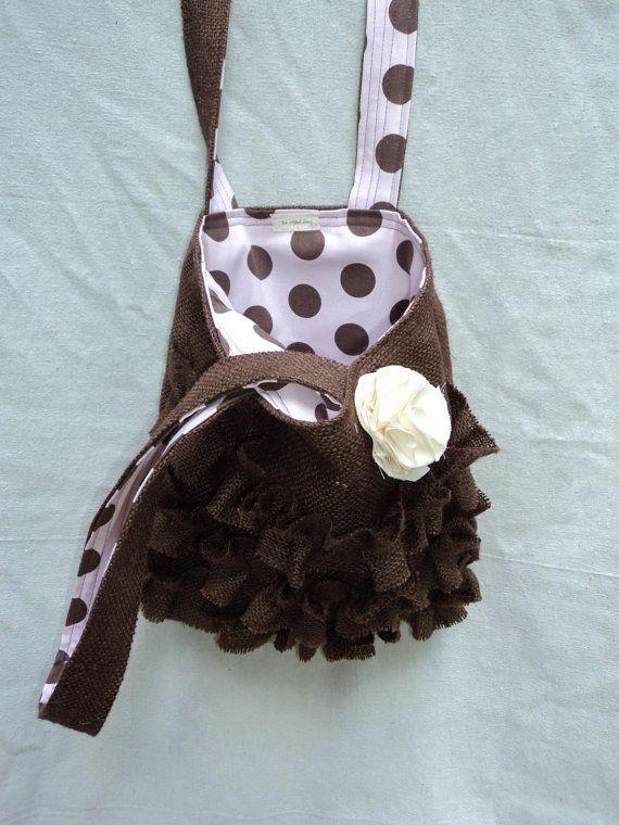 Ruffled Burlap Bag Burlap Purse Feminine Rustic by theruffleddaisy, $47.00