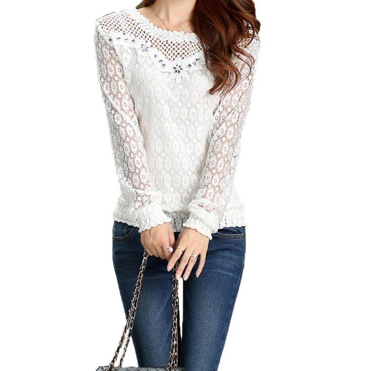 Blusas Femininas 2015 летом алмаза кружева шифон блузка рубашки женщины мода с длинным рукавом кружева рубашки топы Camisas Femininasкупить в магазине Five Star Outlet наAliExpress