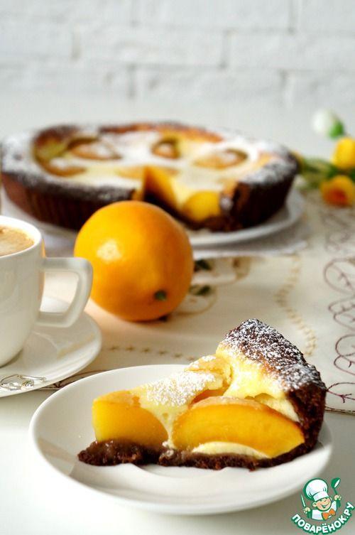 Шоколадный тарт с персиками - кулинарный рецепт