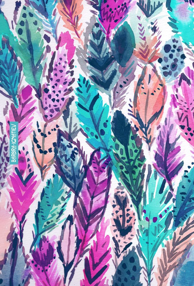 WILD FEATHERS | Barbra Ignatiev | Barbarian | Click through to shop this print and download a phone wallpaper.   feathers, boho, bohemian, boho chic, colorful, watercolor, print, pattern