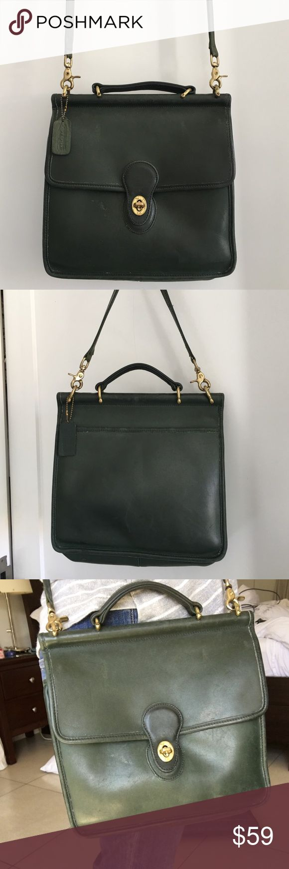 Vintage Coach Legacy Green Willis Station Bag Preowned Vintage Coach Legacy Green Willis Station Bag. Bag has signs of loving wear and patina due to bags age. Serial No.D5B-9927. Please look at pictures for better reference. Happy shopping!! Coach Bags Crossbody Bags