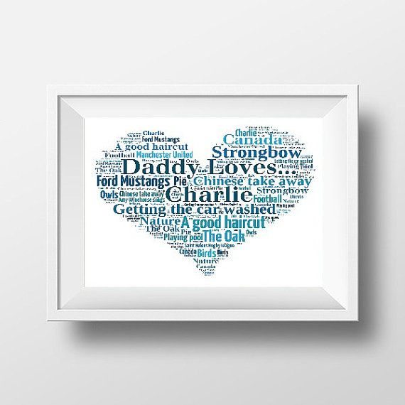 Daddy Loves Custom Print  Personalised Loves Heart Print in your choice of words and colours.    Gift for Daddy  Fathers day gift     www.pepperdoodles.co.uk