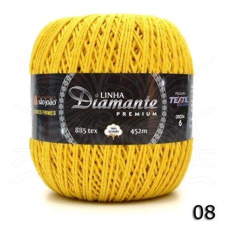 Barbante Diamante Premium nº06 400g cor Amarelo Ouro N°08.
