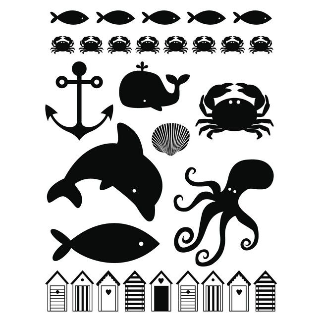 digistamps ocean, beach, whale, dolphin, octopus, fish #silhouette