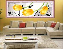 Yeni Yüksek Kalite Ücretsiz Kargo Baskılı Çiçekler Çin çapraz dikiş patterns Lale Sayılan Çapraz Dikiş 3 Parça Sahne(China (Mainland))