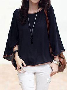 Stylish Women's Batwing Sleeve O-Neck Plus Size Ponchos