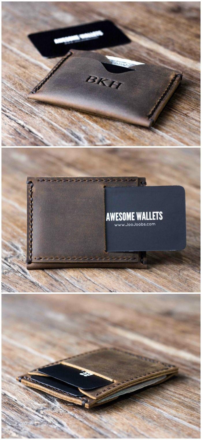 Customizable handmade leather minimalist wallet.