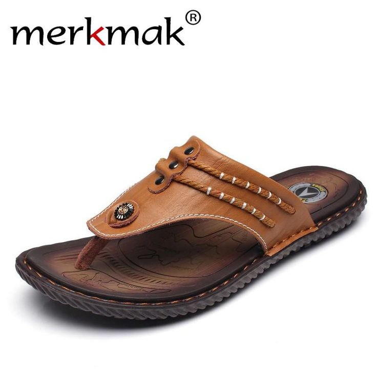 Merkmak Drop Ship Men Summer Flip Flops Beach Men's Slippers Genuine Leather Casual Shoes for Men Flat Sandals Holiday Footwear