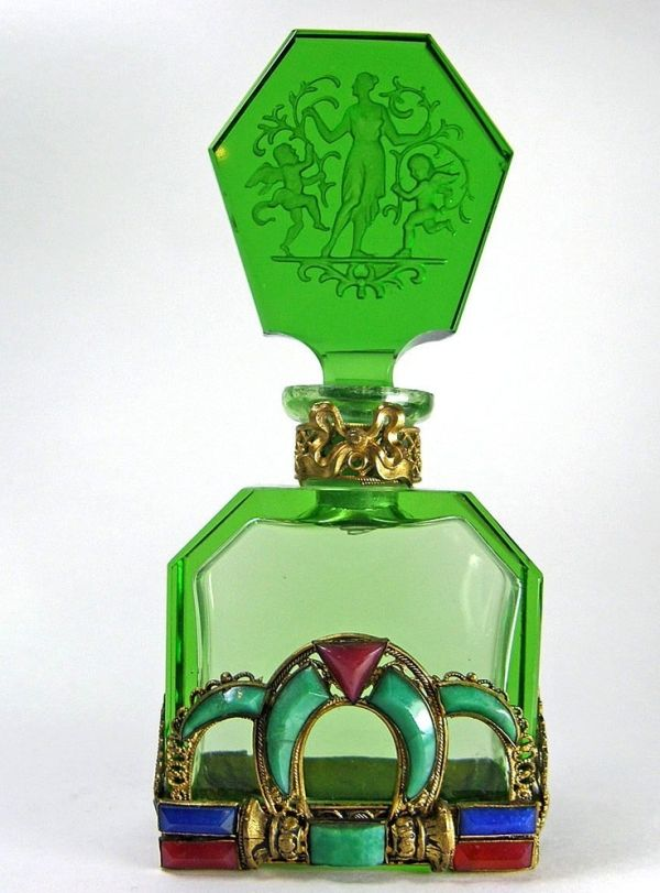 Vintage 1930s Jeweled Czech Perfume Bottle. See also pins of blue and mauve versions - a popular design! by charity
