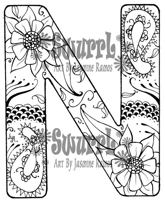 zentangle coloring pages letter n | 90 best letras images on Pinterest | Alphabet fonts, Hand ...