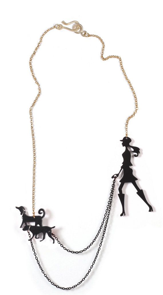 black dog walker necklace A walk in the park by lilianadesign,