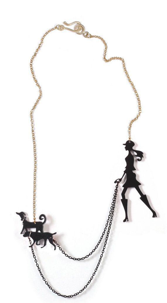 black dog walker necklace A walk in the park par lilianadesign, $59.00
