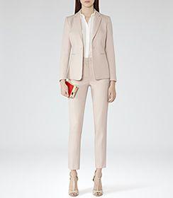 Womens Blush Melange Jacquard Weave Blazer - Reiss Daniella Blazer
