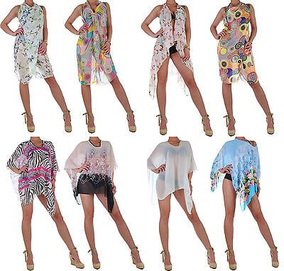 Damen-Sommer-Kleid-Strand-Wickelkleid-Poncho-Kaftan-Sarong-Chiffon-Look-18b