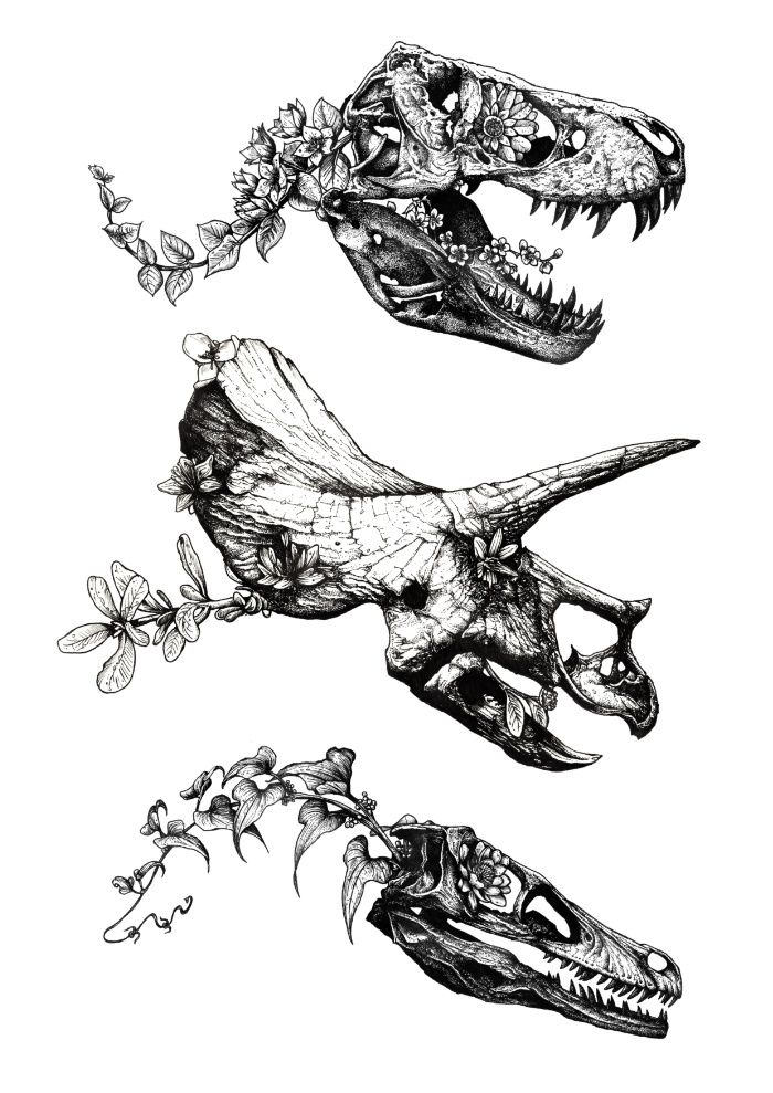 Jurassic Bloom print by Sinpiggyhead