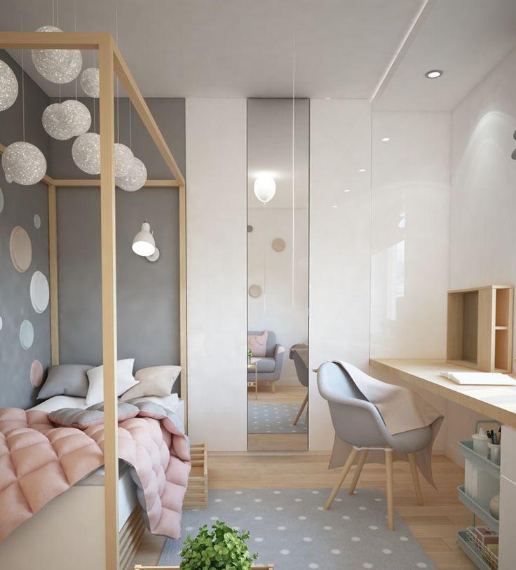 9 Qm Kinderzimmer Grau Rosa Helles Holz Schreibtisch Bett Kinder Zimmer Kinderzimmer Einrichten Und Zimmer Einrichten Jugendzimmer