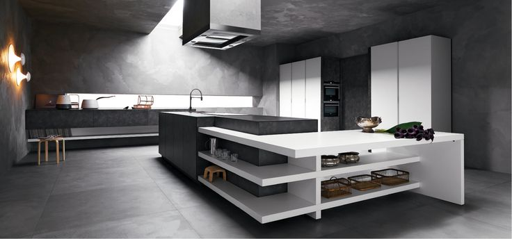 #kitchen Elle by Cesar Arredamenti Spa - Elle has sharp lines that define rigorous compositions and great scenographic effect. #blackwhite