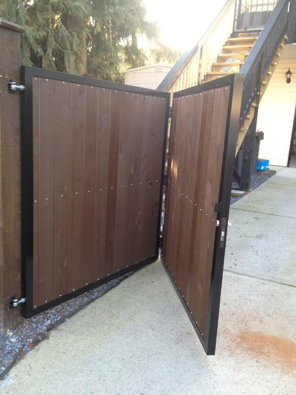Bi fold fence gate fence pinterest gardens side for Single wooden driveway gates