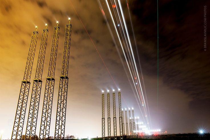 Light trails at Brussels Airport by branislavmilic with nightlightAviationLight trailsILSBrussels Airport