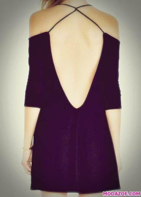Siyah Kısa Sırtı Açık Elbise