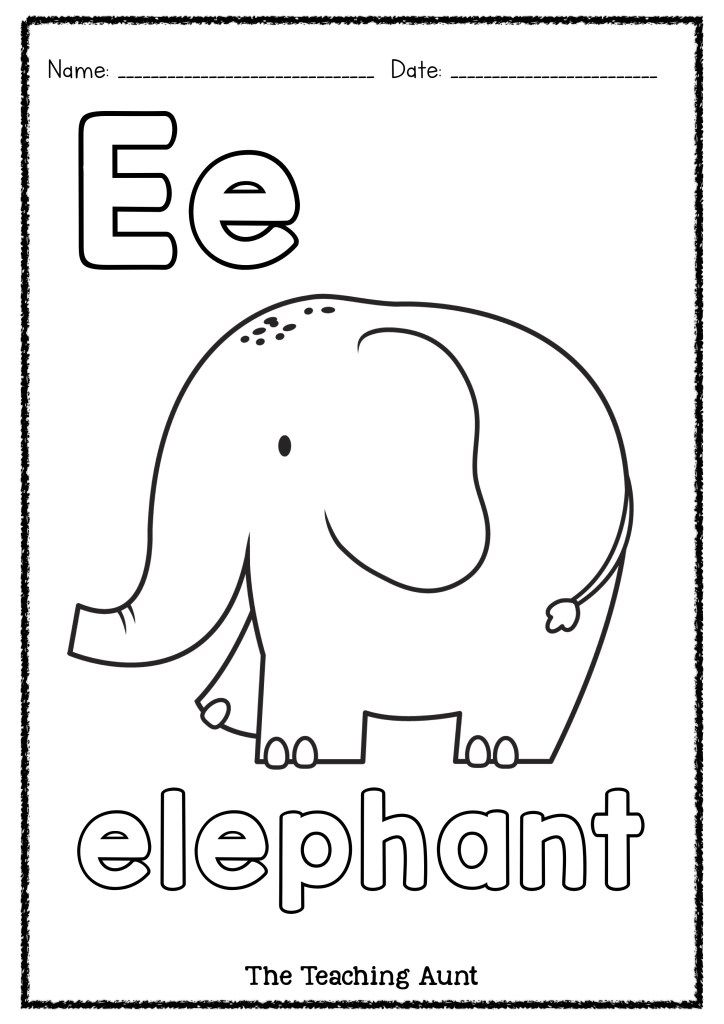 E Is For Elephant Art And Craft The Teaching Aunt Elephant Art Letter Learning Activities Preschool Coloring Pages