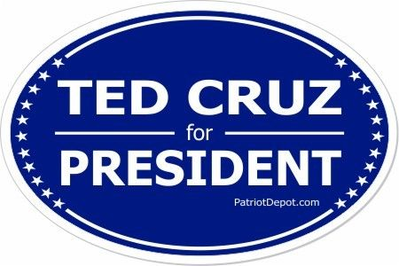 """Ted Cruz for President Bumper Sticker.  3""""x4.5"""" Oval Sticker Non-residue Weatherproof/UV protection 5 Pack"""