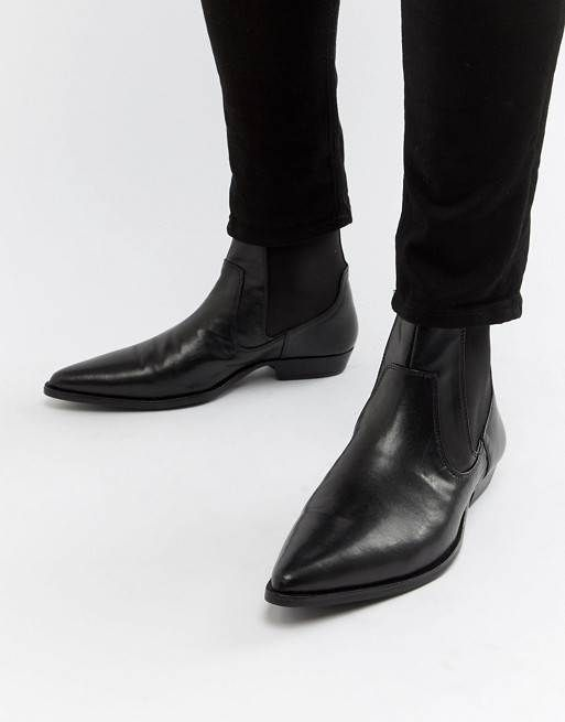 4930d3b3b0e BLACK FAUX LEATHER WESTERN CHELSEA BOOTS BY ASOS DESIGN - MEN S VEGAN COWBOY  BOOTS