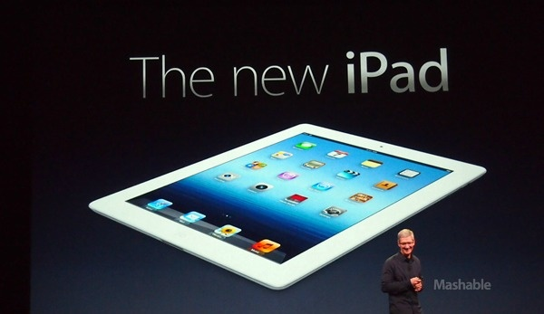 """Apple unveils """"The new iPad."""" Will have 4G LTE capability. New retina display has 1 million more pixels than an HDTV. Camera now shoots 1080p video with stabilization. iPhoto also coming. On sale March 16 starting at $499. Will you buy one?"""