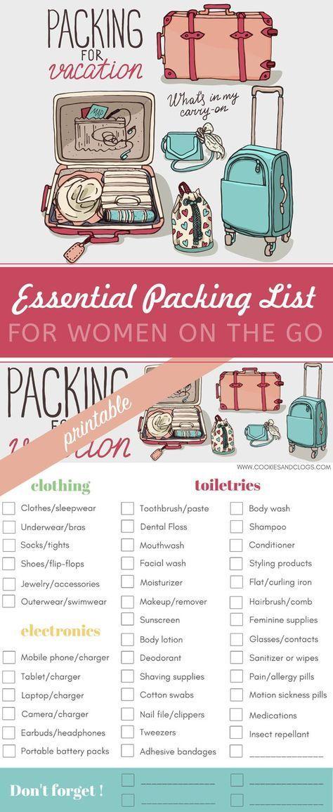 Machen Sie das Reisen stressfreier: Unverzichtbare druckbare Packliste für Frauen