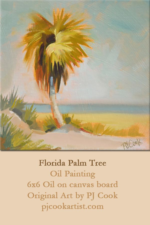 florida palm tree, ocean scene, A nice warm glow surrounds this lone florida palm tree near the beach. A 6x6 inch oil on canvas panel is ready to be framed and hang on your wall.