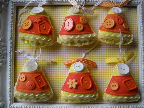 halloween felt and buttons candy corn ornament for halloween tree