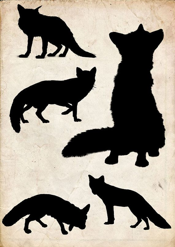 Fox Silhouette clip art 6 png Clipart  Instant Download  by 41Bus