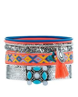 Multicoloured Neon Aztec Print Tassel Bangles | New Look
