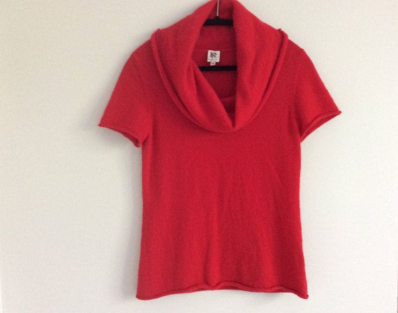 Vintage Rino Rossi Red Lipstick Cashmere Sweater Cowl Neck