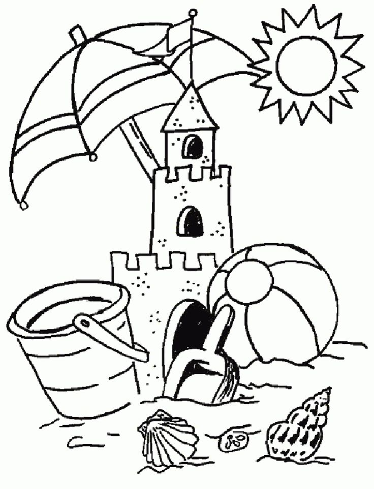 Drawing Summer Vacation A Sand Castle By The Sea Summer Coloring To Print