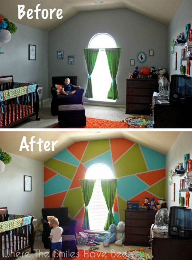 Bright bold accent wall in little boy 39 s room kid for Boys room accent wall