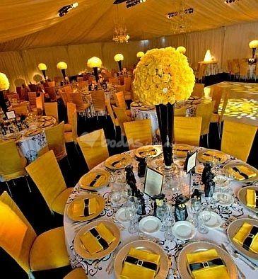 tema fiesta amarillo y negro centro de mesa amarillo y negro