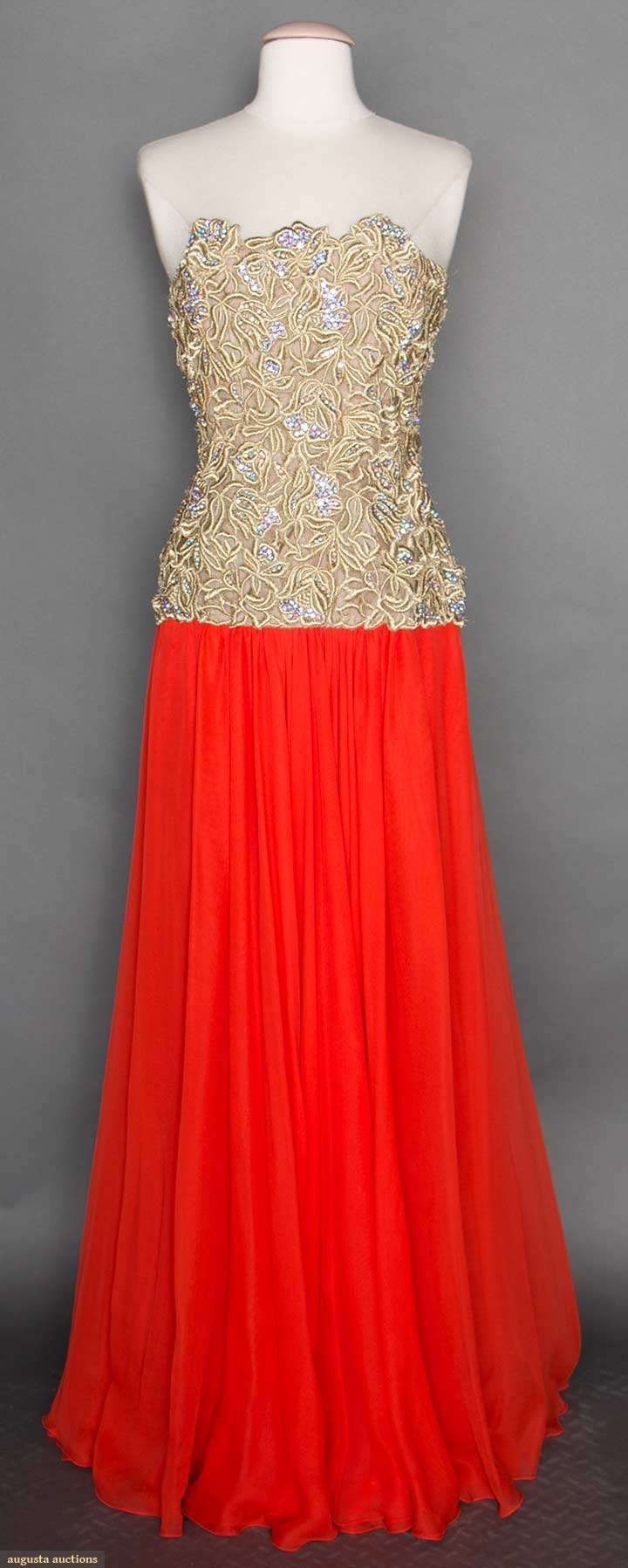 Gold Lace & Red Silk Ball Gown, 1950-1960, Augusta Auctions, April 8, 2015 NYC, Lot 242