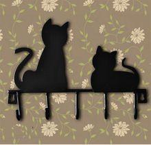 Moda gato design de metal Ferro Após a chave da porta roupas rústicas casaco chapéu pendurado decorativos de parede Ganchos Robe Hanger(China (Mainland))